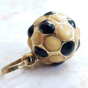 Jewelry - 14K Gold Enamel Italian Soccer Ball Pendant 1.8grm